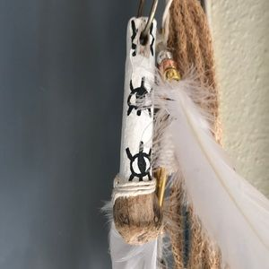 Handpainted driftwood evil eye keychain clip on